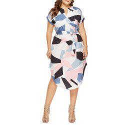 Fashion Casual V-Neck Short-Sleeved Geometric Color Block Printed Loose Dress -