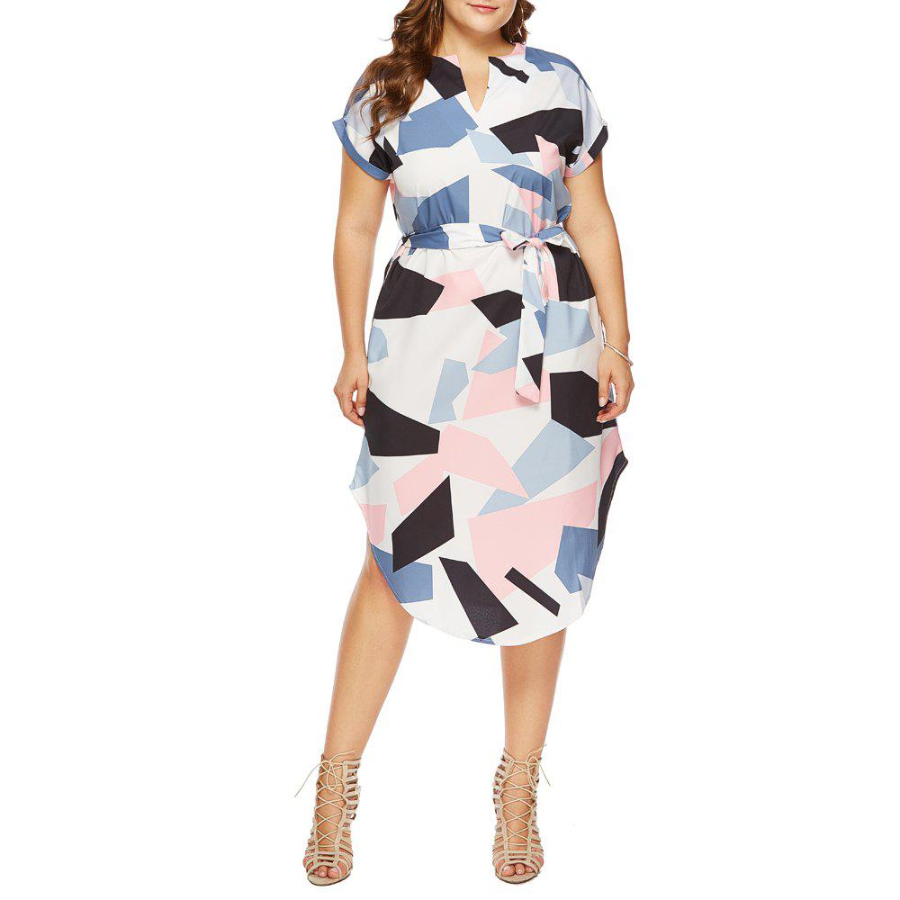 Latest Fashion Casual V-Neck Short-Sleeved Geometric Color Block Printed Loose Dress