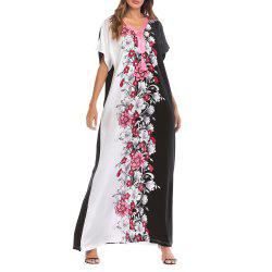 Women Casual Floral Print V Neck Maxi Dress Middle East Long Sleeve Dress -