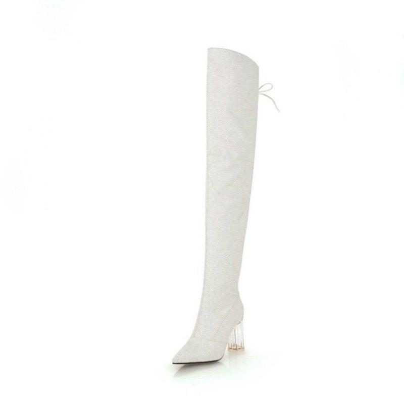 Affordable Pointed Thick with High Heels European and American Sexy Knee Boots