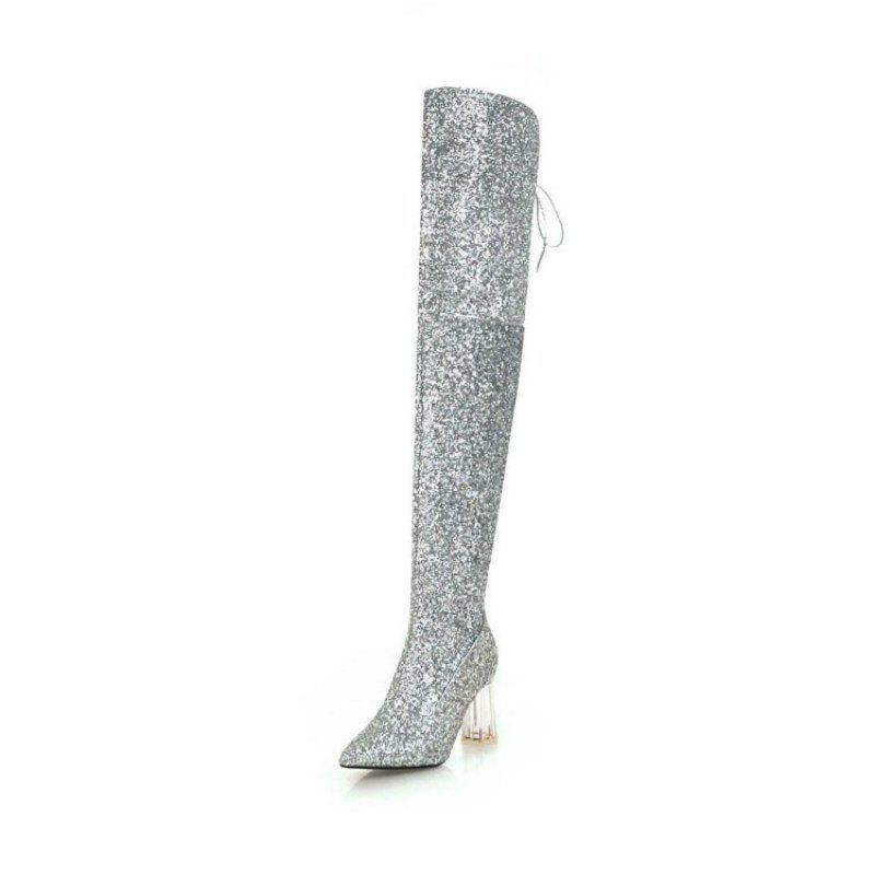 Cheap Pointed Thick with High Heels European and American Sexy Knee Boots