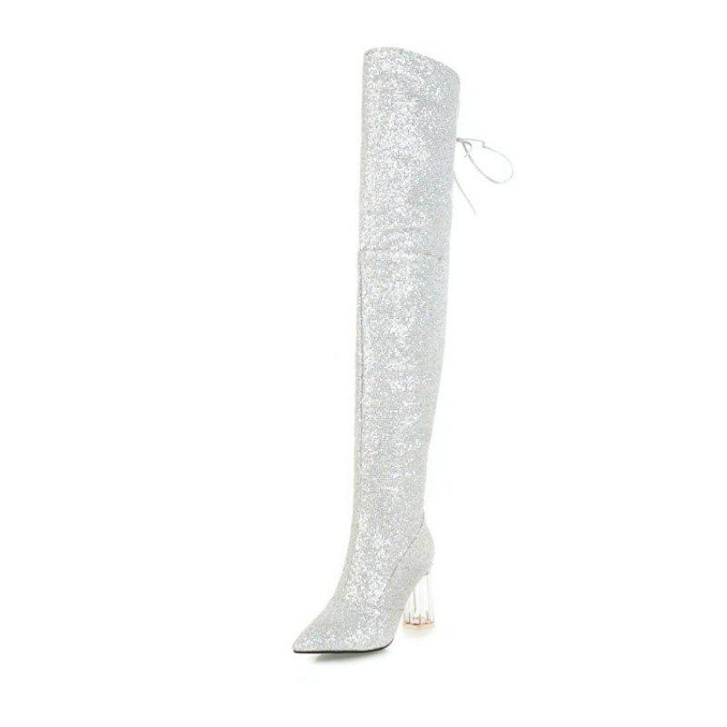 Unique Pointed and Thick and Sexy Knee Boots