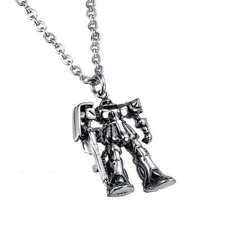 Chic Men's Leisure Antique Wind Robot Pendant Alloy Necklace