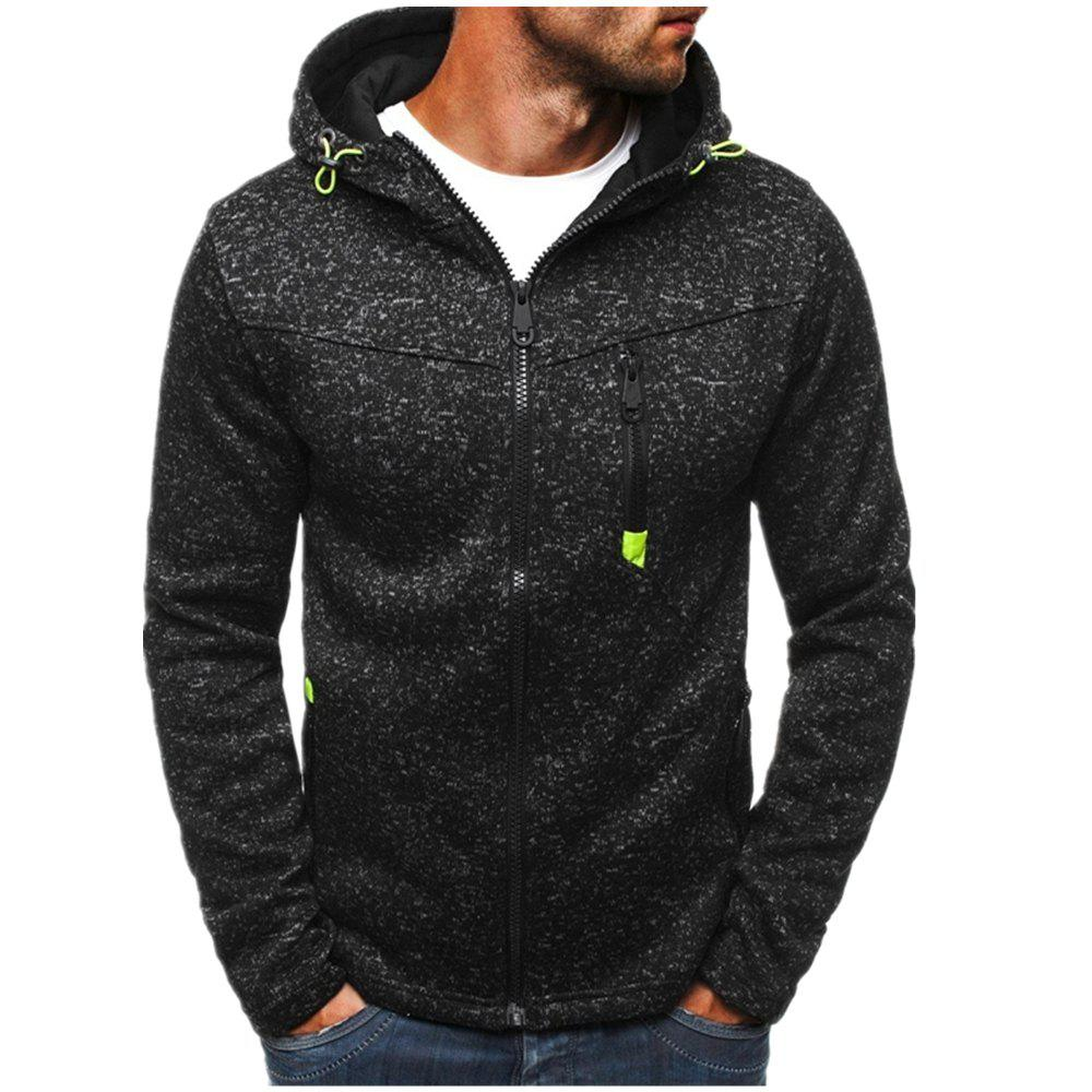 Store Man Sweater Motion Leisure Time Thickened Single Color Hoodie Coat