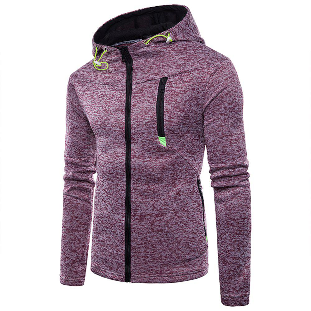 Buy Man Sweater Motion Leisure Time Thickened Single Color Hoodie Coat