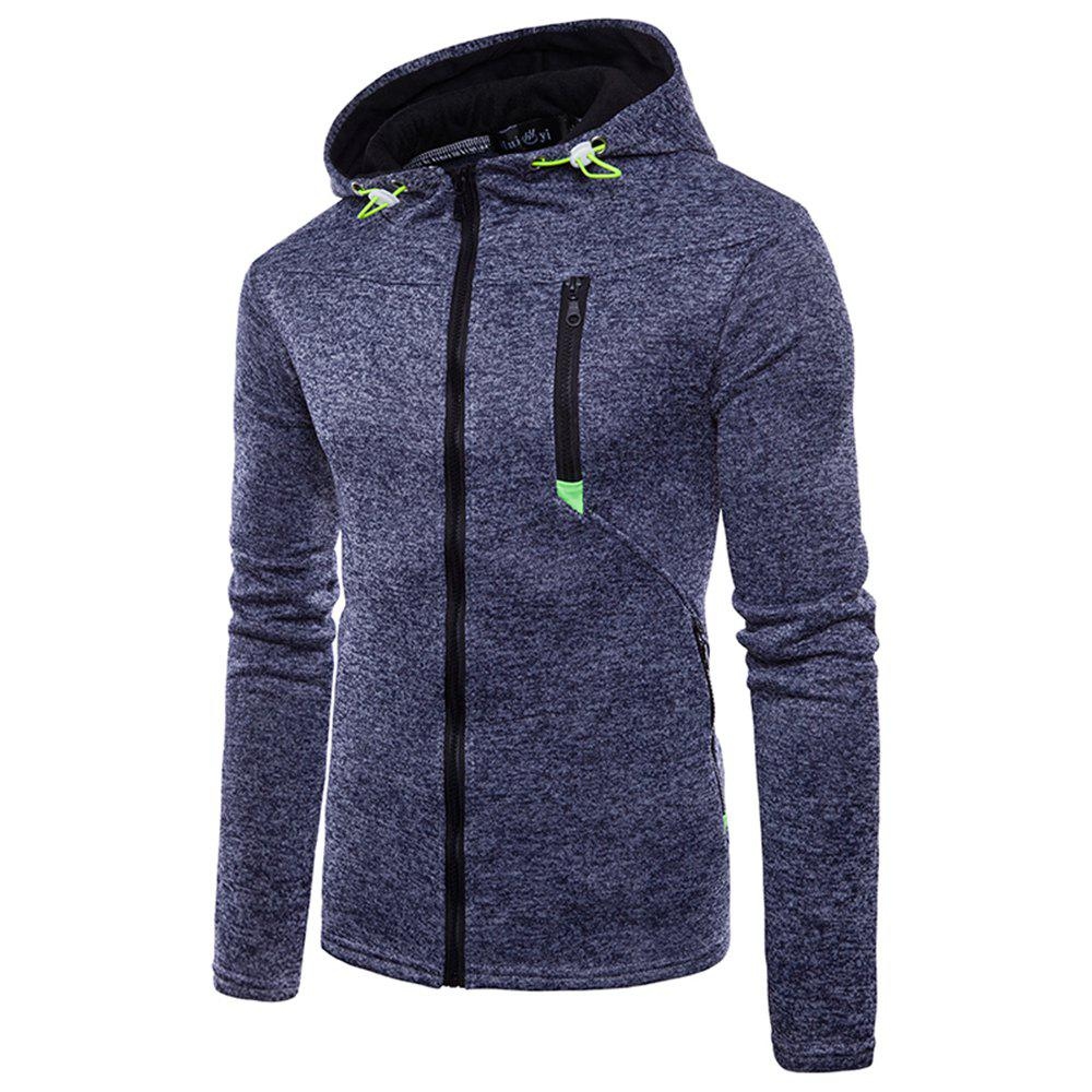 Best Man Sweater Motion Leisure Time Thickened Single Color Hoodie Coat