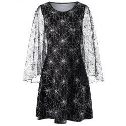 Halloween Long Sleeve Printing Hollow Out Dress -