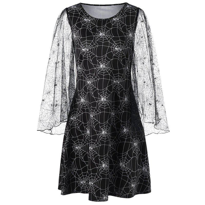 Chic Halloween Long Sleeve Printing Hollow Out Dress