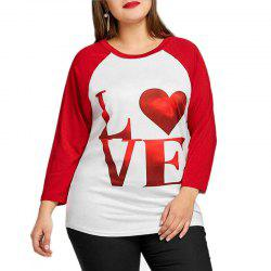 Round Collar Printing Letter Long Sleeve T Shirt -