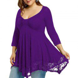3/4 Length Sleeve Lace Splicing Long Sleeve T Shirt -