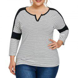 V Collar Stripe Splicing Long Sleeve T Shirt -