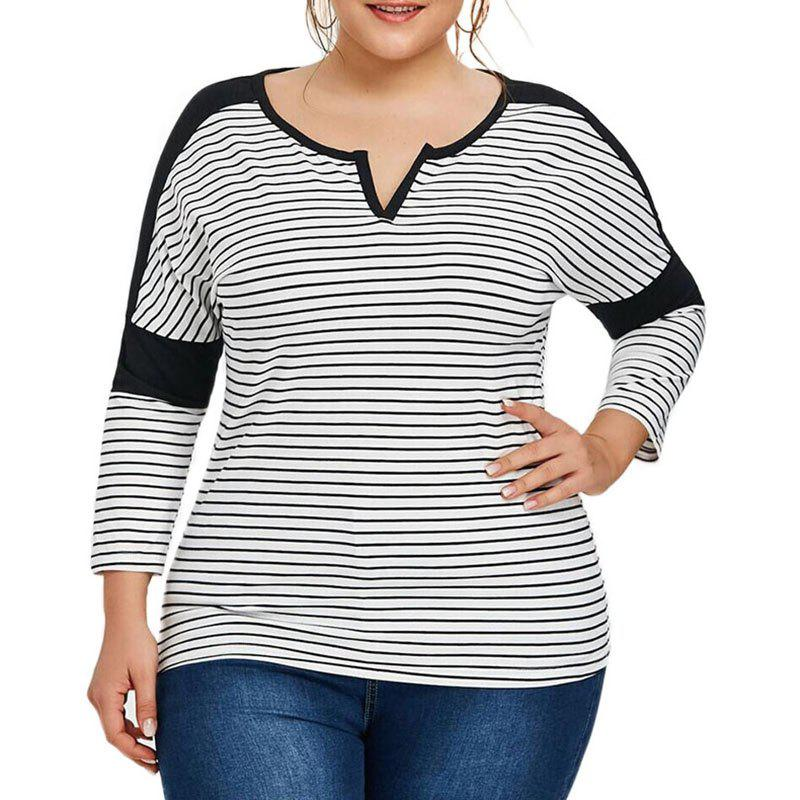 Cheap V Collar Stripe Splicing Long Sleeve T Shirt