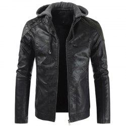 Winter Motorcycle Bomber Leather Jacket Mens Slim Fit Hooded Camouflage Pu Coat -