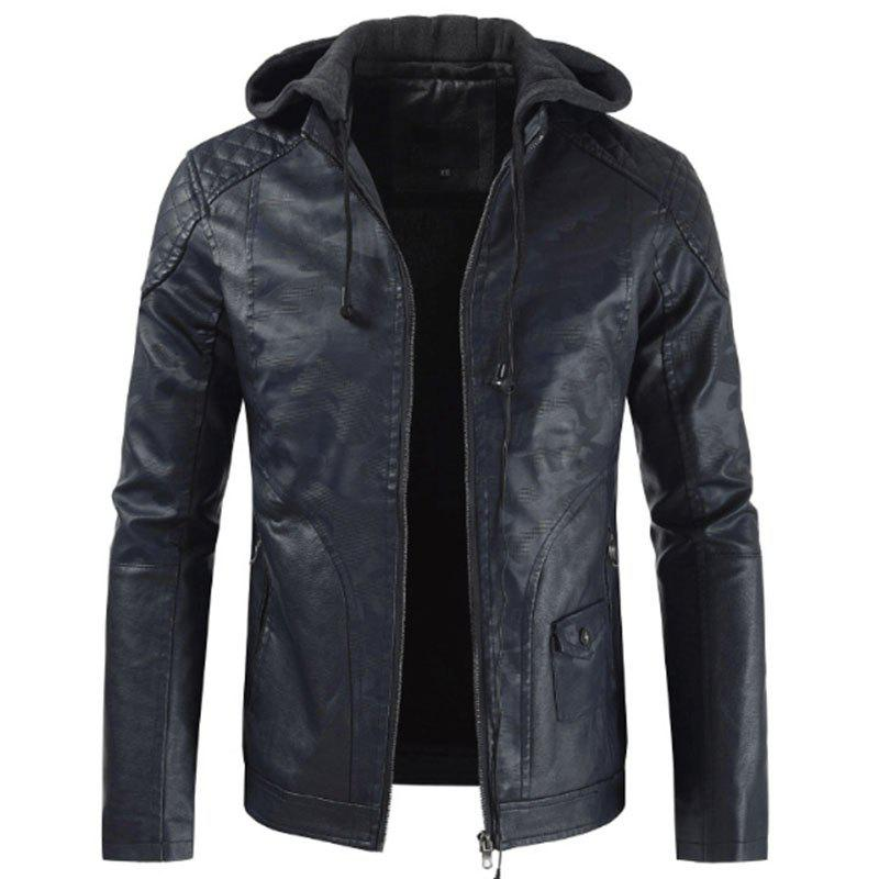 Shop Winter Motorcycle Bomber Leather Jacket Mens Slim Fit Hooded Camouflage Pu Coat