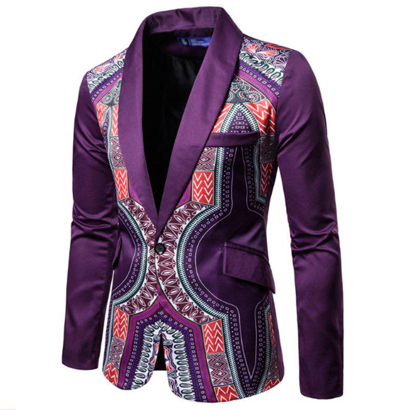 Affordable Men Fashion Printed Colorful Balzer National Style Men's Suit