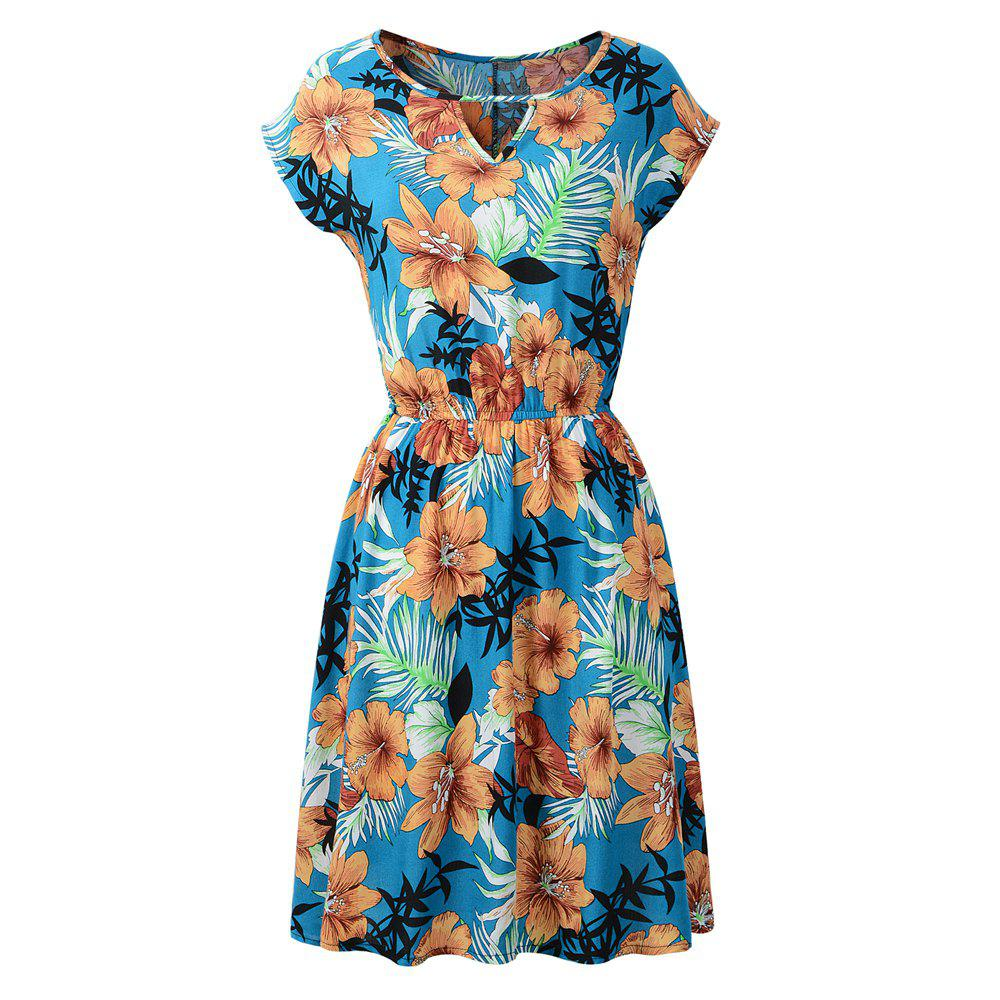 Sale Occident Spring Summer New Round Neck Printing Floral Dress