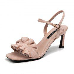 Simple Square Head Back Empty Open Toe Stiletto Girl Sandal -
