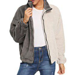 Autumn and Winter New Style Color Matching Plush Sweater Women's Jacket -