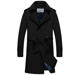 Winter Men Cotton Upset Single Breasted Lapel Turn-Down Long Wind Coat -