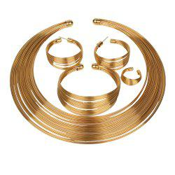 Gold Color Bride Layer Bead Ring Suit Necklace Bracelet Earrings Rings Set -