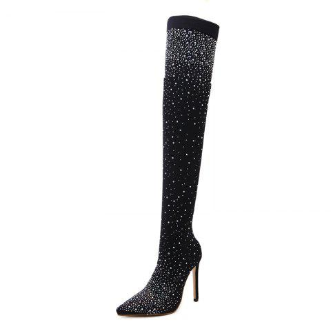 Women's Pointed Toe Stiletto High Heels Club Party Over the knee Boots with Rhin