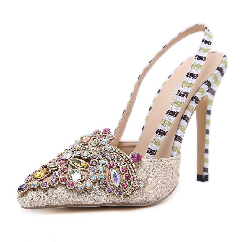 Store Women's Pointed Toe Stiletto Sling Back High Heels Chic Sandals with Rhinestone