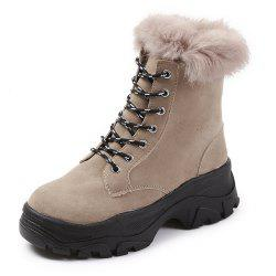 Winter New Frosted Thick Bottom England Wild Furry Lace Cotton Boots Ankle Boots -