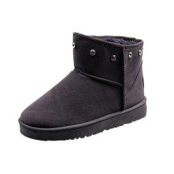 Autumn and Winter New Thick Snow Boots Nubuck Leather Boots Warm Flat Women'S Bo -