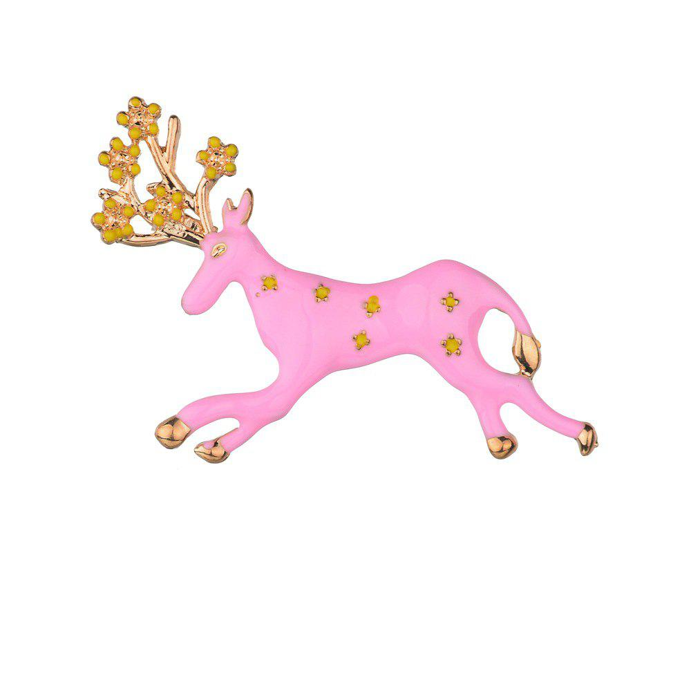 Cute Running Pink Blue Elk Brooch