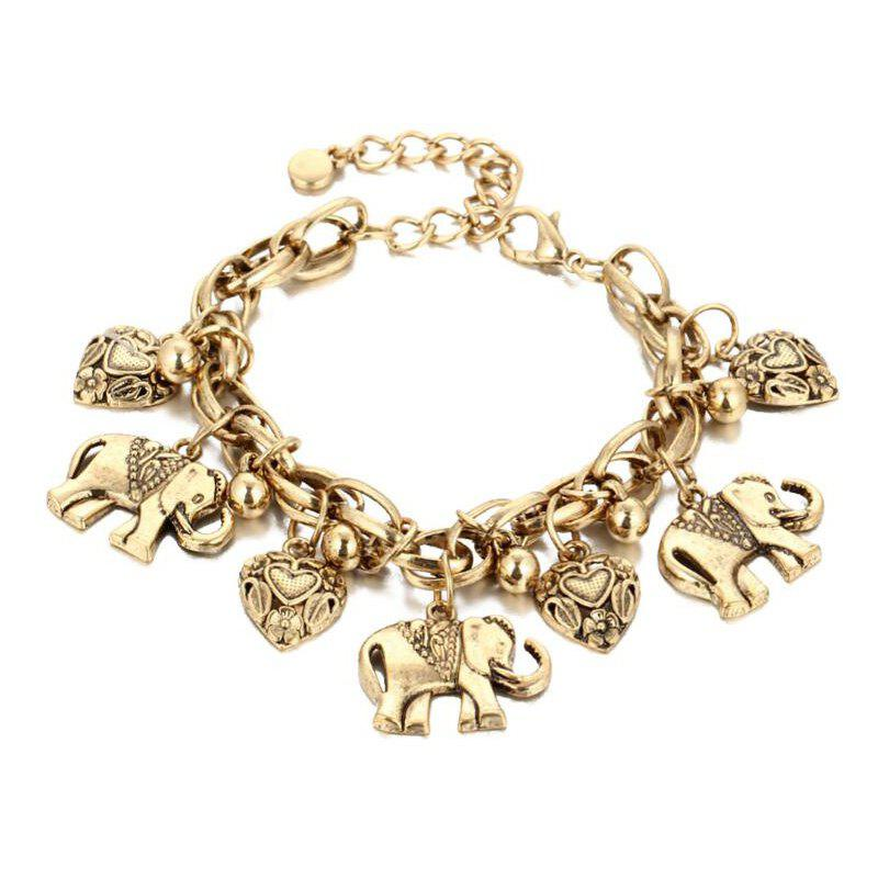 Cheap Gold Silver Carved Elephants Anklet
