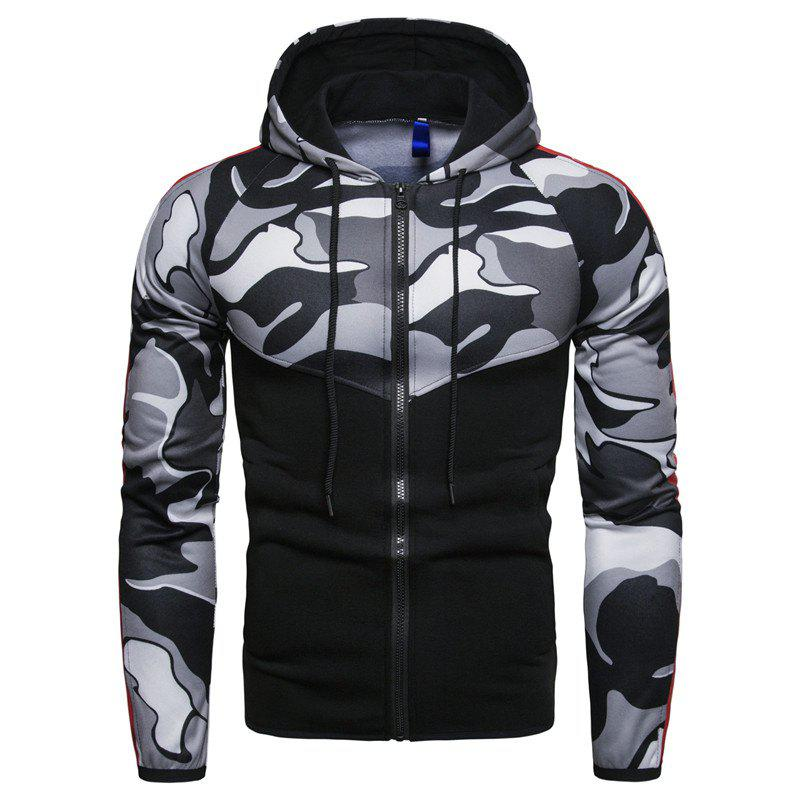 Fashion 2018 Sports Fitness Men'S Slim Hooded Camouflage Color Matching Hoodie