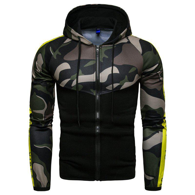 Trendy 2018 Sports Fitness Men'S Slim Hooded Camouflage Color Matching Hoodie