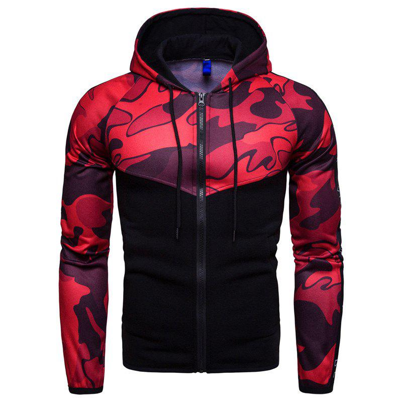 Sale 2018 Sports Fitness Men'S Slim Hooded Camouflage Color Matching Hoodie