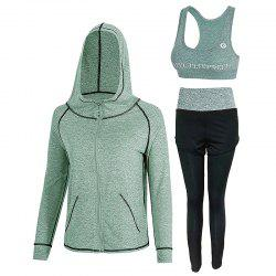 Sports Slim High Waist Women's Yoga Wear Three-Piece Set -