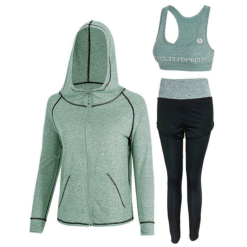 Trendy Sports Slim High Waist Women's Yoga Wear Three-Piece Set