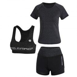 Sports Slim Casual High Waist Women's Yoga Wear Three-Piece Set -