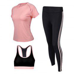 Women's Shorts Set 3 Pcs Cozy Brief T Shirt Women's Sports Clothing -
