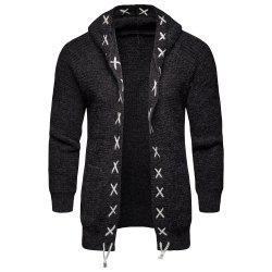 2018 Autumn and Winter Men'S Hooded Sweater Knit Cardigan Coat -