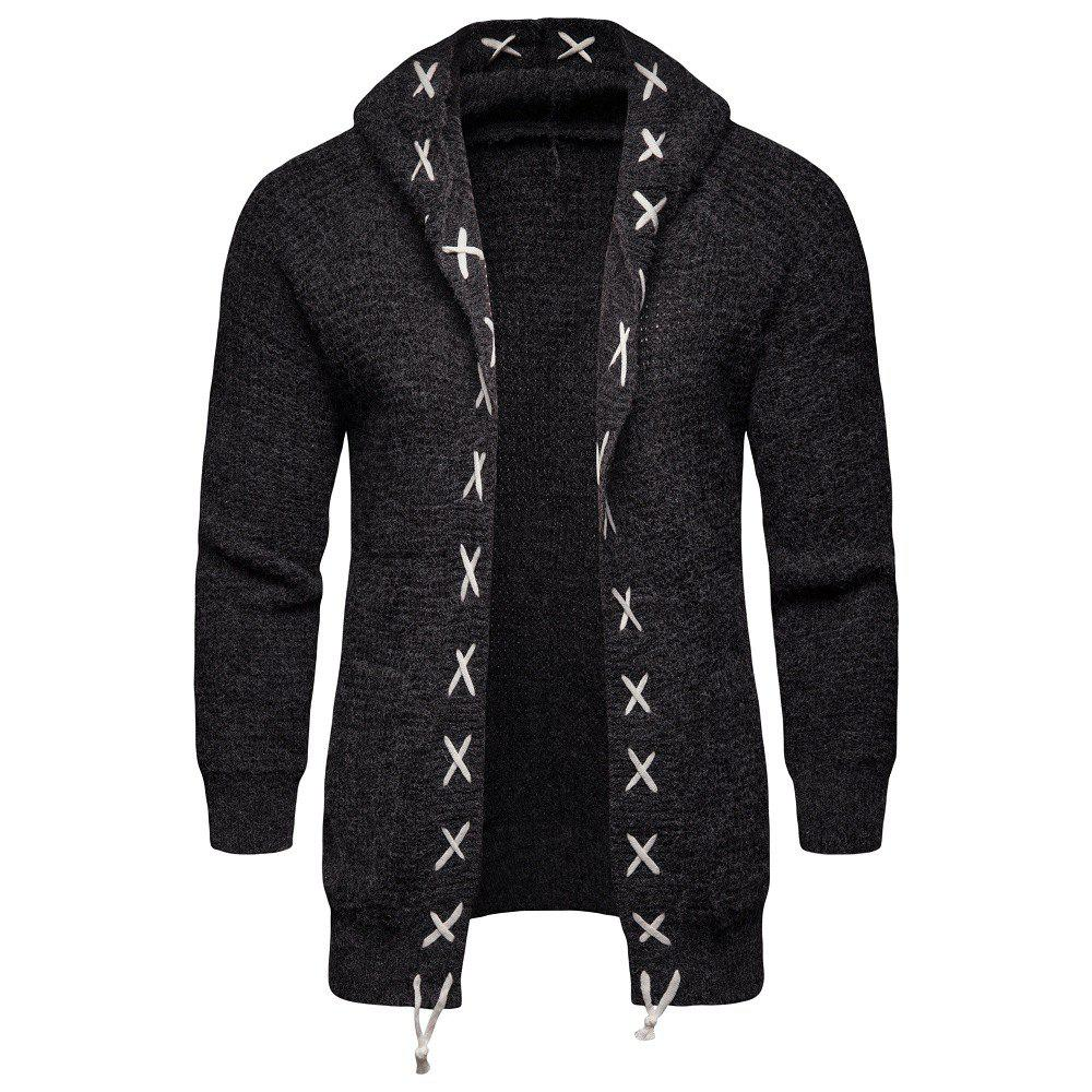Hot 2018 Autumn and Winter Men'S Hooded Sweater Knit Cardigan Coat
