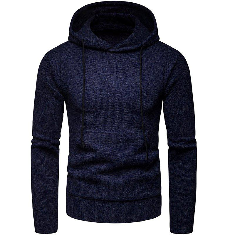 Best 2018 Winter Men'S Solid Color Hooded Pullover Sweater Sweater Coat