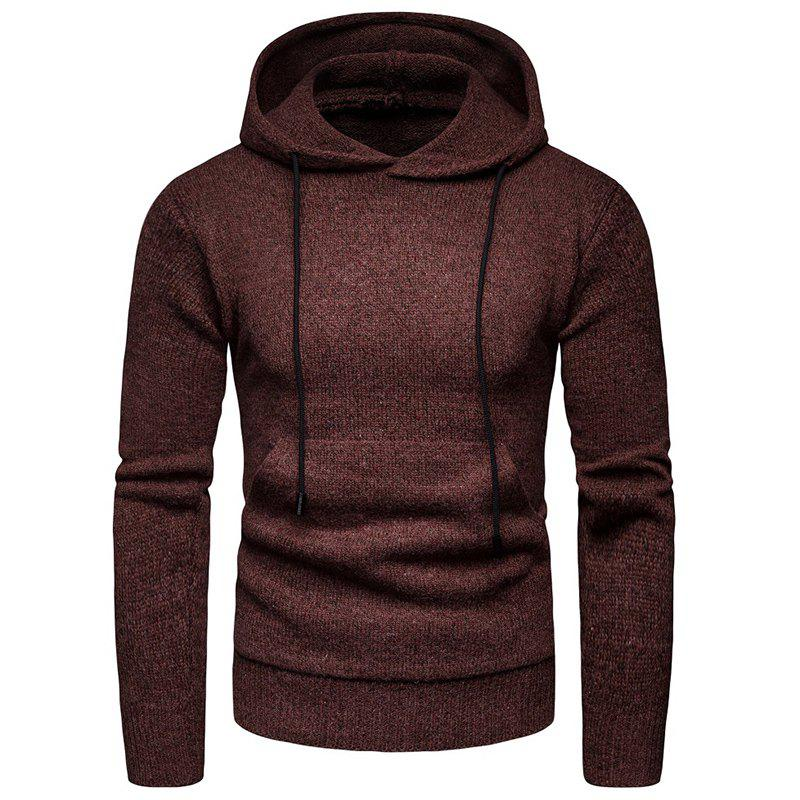 Shops 2018 Winter Men'S Solid Color Hooded Pullover Sweater Sweater Coat
