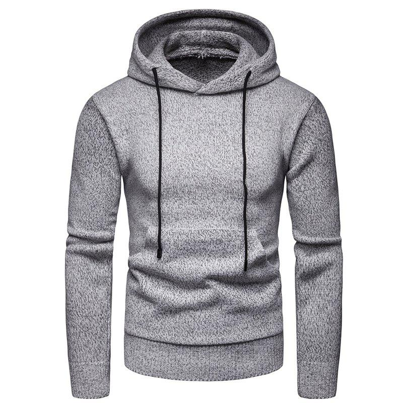 Store 2018 Winter Men'S Solid Color Hooded Pullover Sweater Sweater Coat