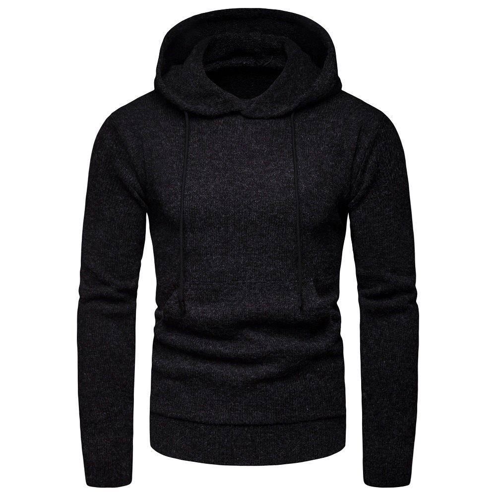 Outfit 2018 Winter Men'S Solid Color Hooded Pullover Sweater Sweater Coat