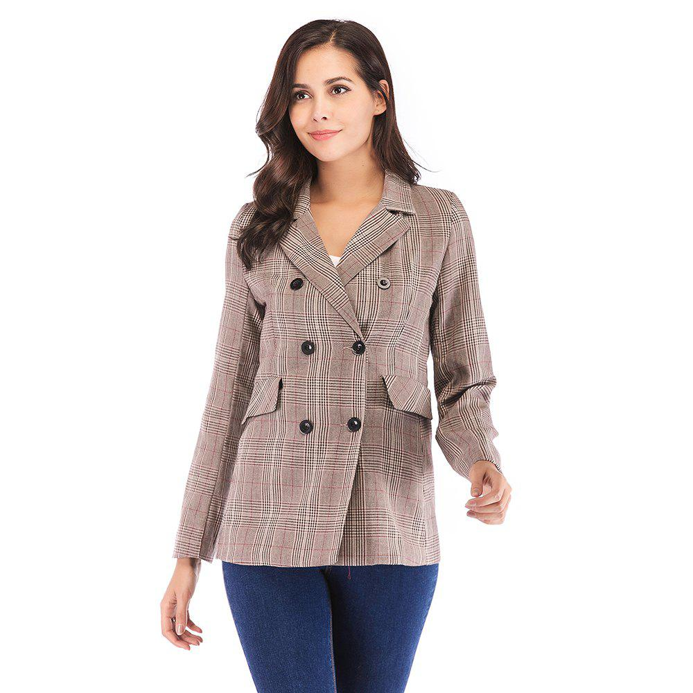 Affordable Women'S Blazer Plaid Pattern Double Breasted Notched Collar Blazer