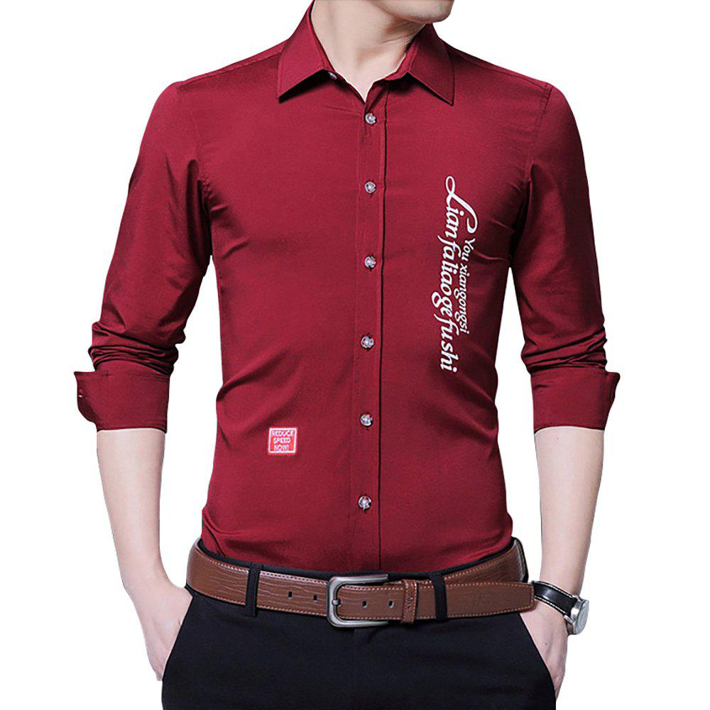 50 Off 2018 Mens Lapel Long Sleeve Slim Business Casual Shirt In