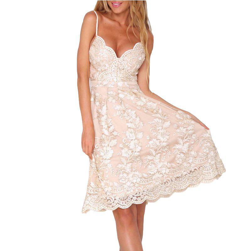 Outfit Best Selling Embroidered Lace Sling Openwork Backless Sexy Dress