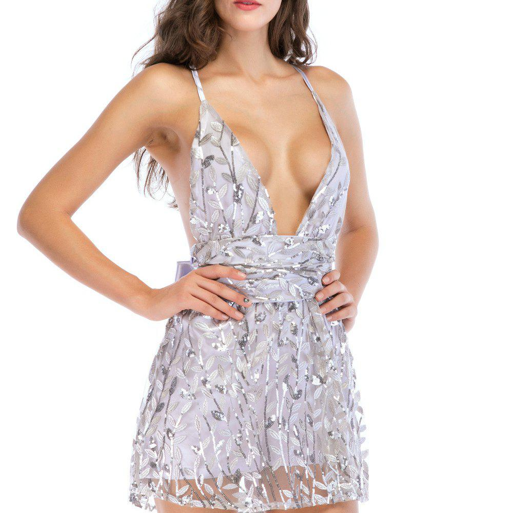 Discount Sexy Halter Strap V-neck Waistband Strap Sequin Dress