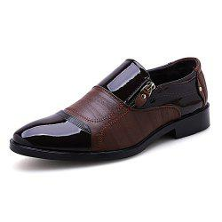 Men Low Cut Zipper Slip on Leather shoes -