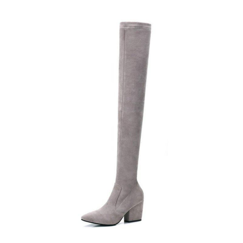 Discount Pointy Thick with High Heel Sexy Wild Knee Boots