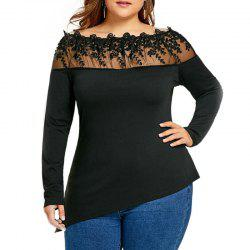 Solid Color Lace Hollow Out One Word Collar T Shirt -